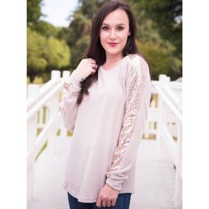 Beige Longsleeve Top With Rose Gold Sequins